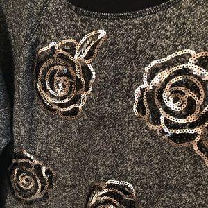 Apt. 9 Tops - Black Floral Sequin Sweatshirt M EUC